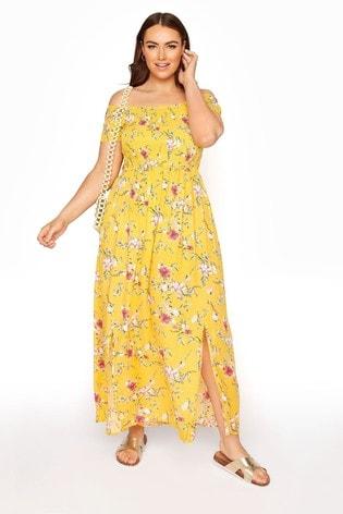 Yours Yellow Shirred Bardot Floral Maxi Dress