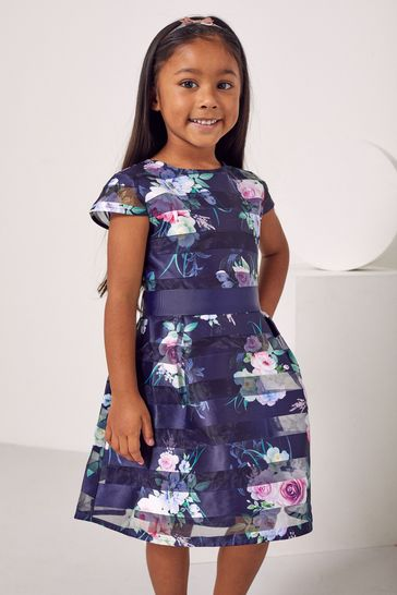 Lipsy Navy Blue Floral Mini Cap Sleeve Belted Dress
