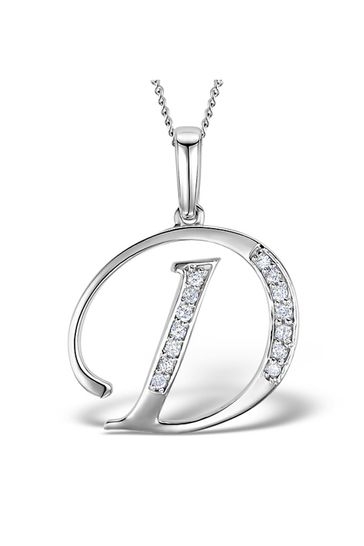 The Diamond Store White 925 Silver Lab Diamond Initial D Necklace 0.05ct