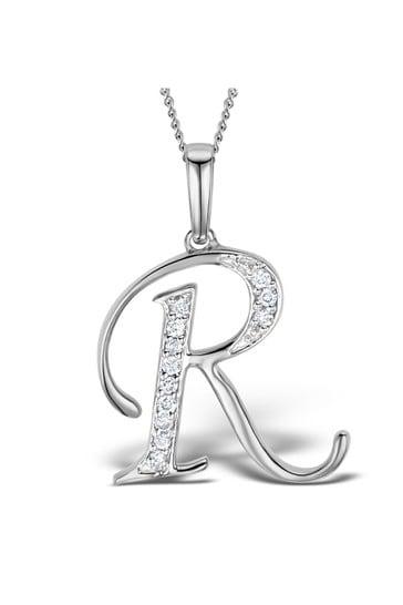 The Diamond Store White 925 Silver Lab Diamond Initial R Necklace 0.05ct
