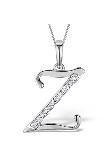 The Diamond Store White 925 Silver Lab Diamond Initial Z Necklace 0.05ct