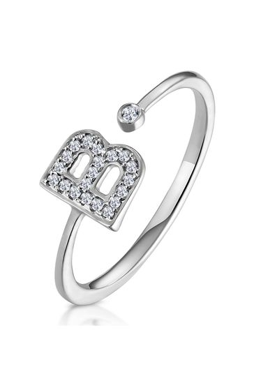 The Diamond Store White Lab Diamond Initial B Ring 0.07ct Set in 925 Silver