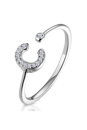 The Diamond Store White Lab Diamond Initial C Ring 0.07ct Set in 925 Silver