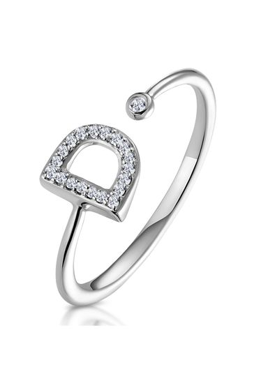 The Diamond Store White Lab Diamond Initial D Ring 0.07ct Set in 925 Silver