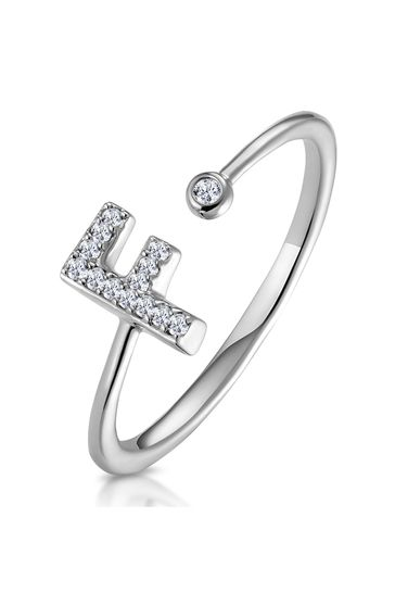 The Diamond Store White Lab Diamond Initial F Ring 0.07ct Set in 925 Silver