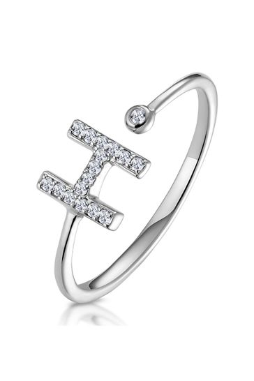 The Diamond Store White Lab Diamond Initial H Ring 0.07ct Set in 925 Silver