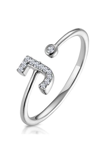 The Diamond Store White Lab Diamond Initial J Ring 0.07ct Set in 925 Silver