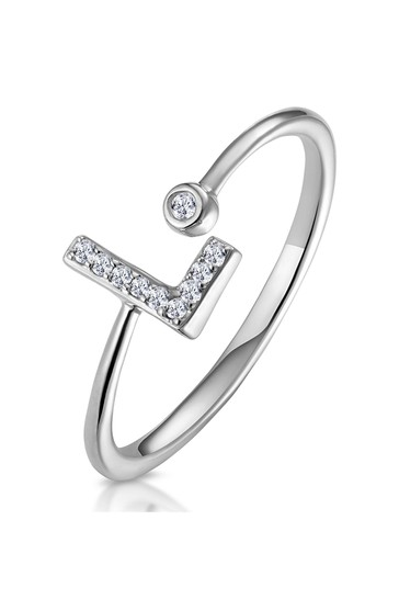 The Diamond Store White Lab Diamond Initial L Ring 0.07ct Set in 925 Silver