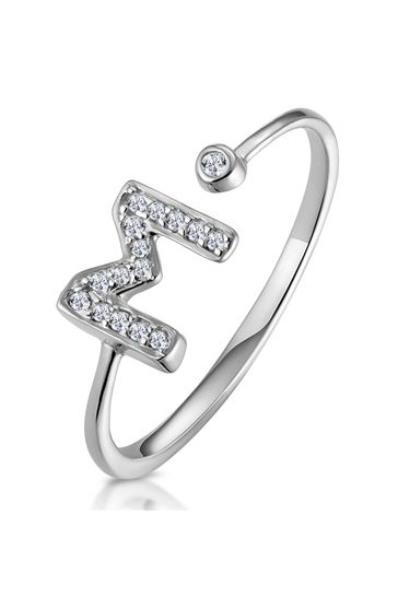 The Diamond Store White Lab Diamond Initial M Ring 0.07ct Set in 925 Silver