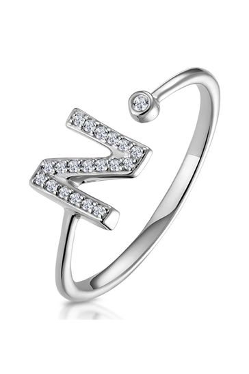 The Diamond Store White Lab Diamond Initial N Ring 0.07ct Set in 925 Silver