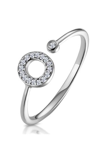 The Diamond Store White Lab Diamond Initial O Ring 0.07ct Set in 925 Silver