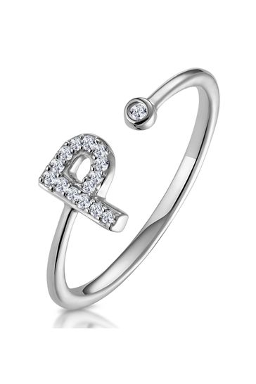 The Diamond Store White Lab Diamond Initial P Ring 0.07ct Set in 925 Silver