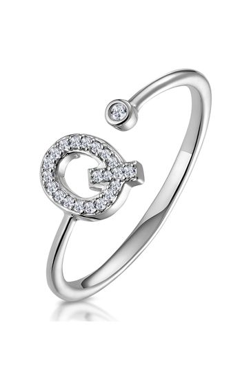 The Diamond Store White Lab Diamond Initial Q Ring 0.07ct Set in 925 Silver