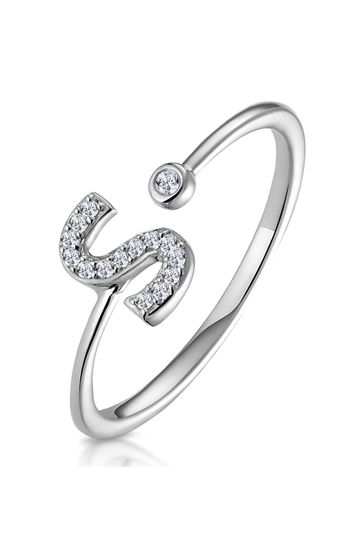 The Diamond Store White Lab Diamond Initial S Ring 0.07ct Set in 925 Silver