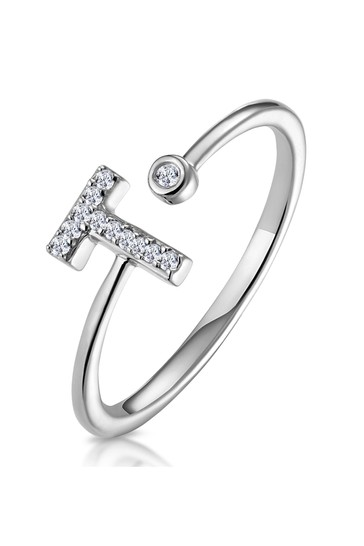 The Diamond Store White Lab Diamond Initial T Ring 0.07ct Set in 925 Silver