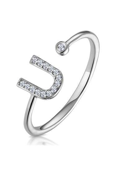 The Diamond Store White Lab Diamond Initial U Ring 0.07ct Set in 925 Silver