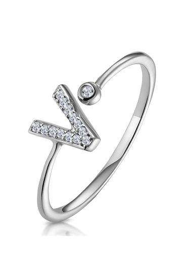 The Diamond Store White Lab Diamond Initial V Ring 0.07ct Set in 925 Silver