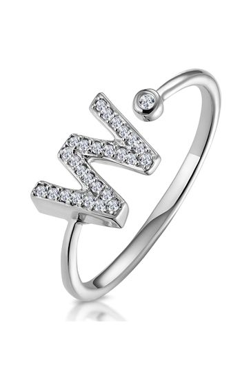 The Diamond Store White Lab Diamond Initial W Ring 0.07ct Set in 925 Silver