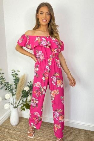 Sistaglam Pink Bardot Floral Jumpsuit