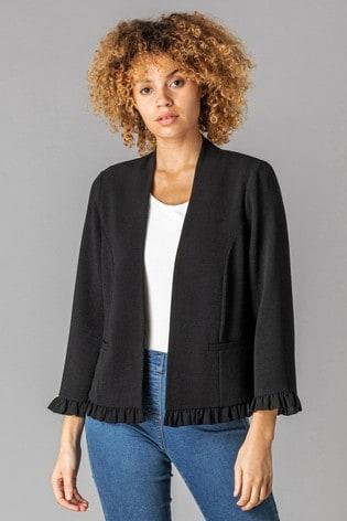 Roman Black Frill Hem Detail Jacket