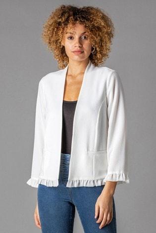 Roman White Frill Hem Detail Jacket