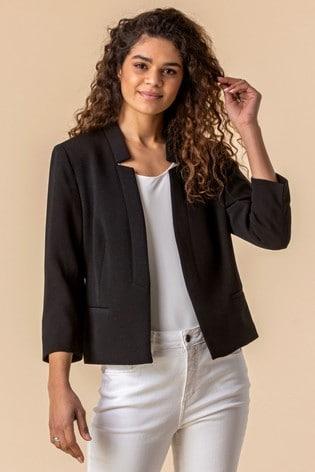 Roman Black Textured Notch Neck Jacket