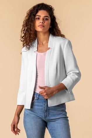 Roman White Textured Notch Neck Jacket