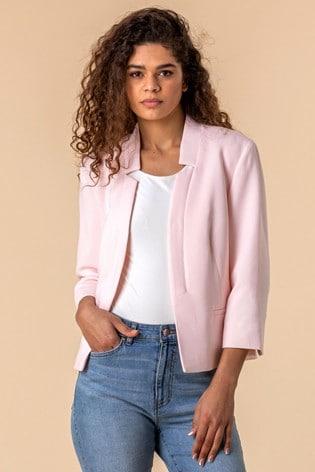 Roman Pink Textured Notch Neck Jacket