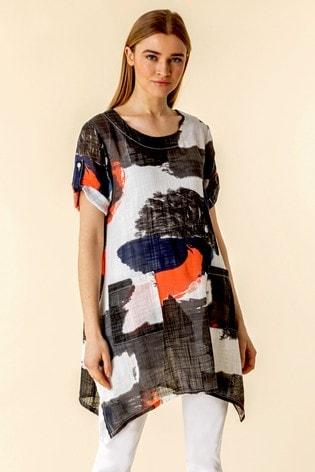 Roman Orange Abstract Print Longline Tunic Top