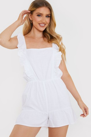 In The Style White Jac Jossa Frill Strap Playsuit