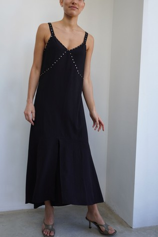 Religion Black High Low Strappy Maxi Dress With Stud Detailing