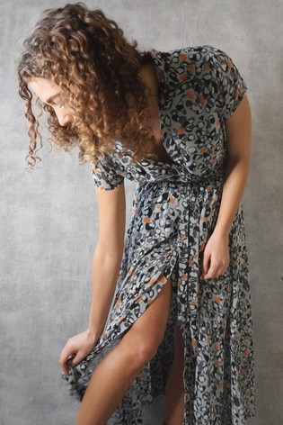 Religion Grey Shirt Maxi Dress With Full Skirt In Dotted Print