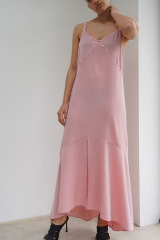 Religion Pink High Low Strappy Maxi Dress With Stud Detailing