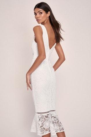 Lipsy White Lace Bodycon Dress