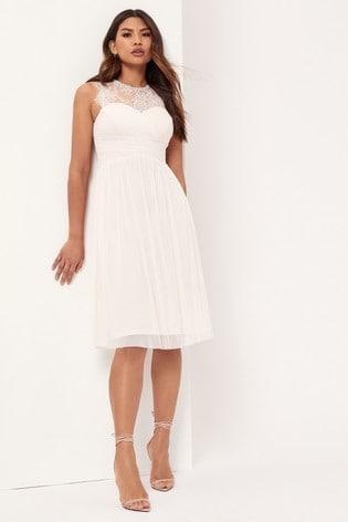 Lipsy Nude Esme Lace Sleeveless Mesh Midi Bridesmaid Dress