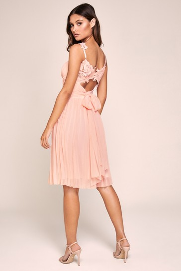 Lipsy Nude Millie Lace Midi Dress