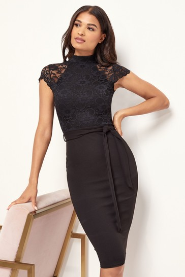 Lipsy Black Lace Insert High Neck Midi Dress