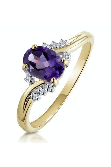 The Diamond Store Purple Amethyst 0.68ct And Diamond 9K Gold Ring