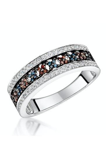 The Diamond Store White Stellato Collection Multi Colour Diamond Ring 0.23ct in 9K White Gold