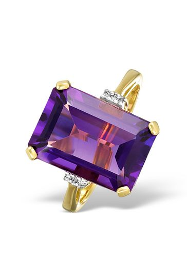 The Diamond Store Purple Amethyst 6.40ct And Diamond 9K Gold Ring
