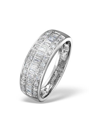 The Diamond Store White Eternity Ring Baguette Diamond 0.22ct in 9K White Gold