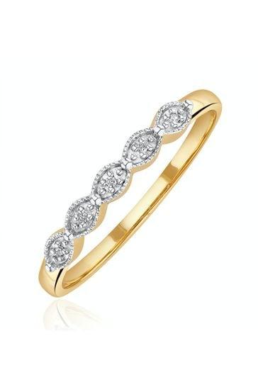 The Diamond Store White Half Eternity Ring 0.02CT Diamond 9K Yellow Gold
