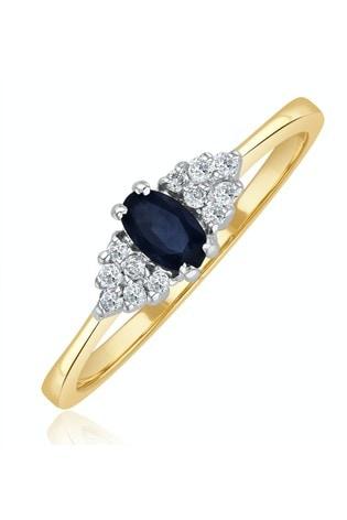The Diamond Store Blue Sapphire 5 x 3mm And Diamond 9K Gold Ring