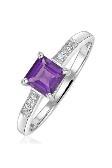 The Diamond Store Purple Amethyst 0.63ct And Diamond 9K White Gold Ring