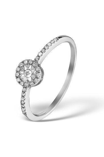 The Diamond Store White Halo Ring with 0.11ct of Diamonds set in 9K White Gold