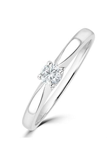 The Diamond Store White Tapered Design Lab Diamond Engagement Ring 0.15ct H/Si 9K White Gold