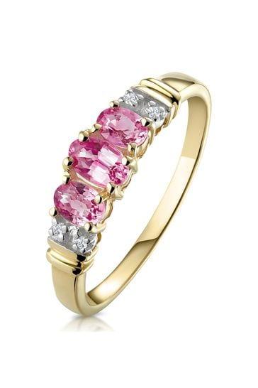 The Diamond Store Pink Pink Sapphire and 0.02ct Diamond Ring 9K Yellow Gold