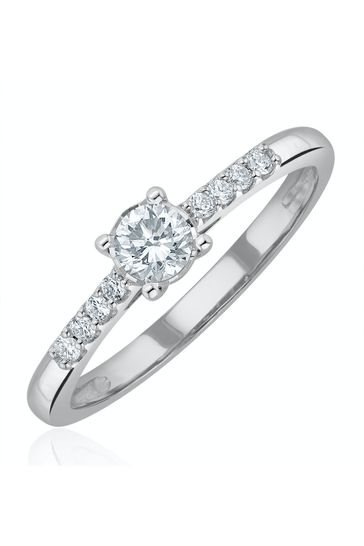 The Diamond Store White Lab Diamond Side Stone Engagement Ring 0.25ct H/Si in 925 Silver