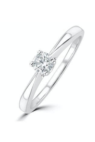 The Diamond Store White Tapered Design Lab Diamond Engagement Ring 0.25ct H/Si in 925 Silver