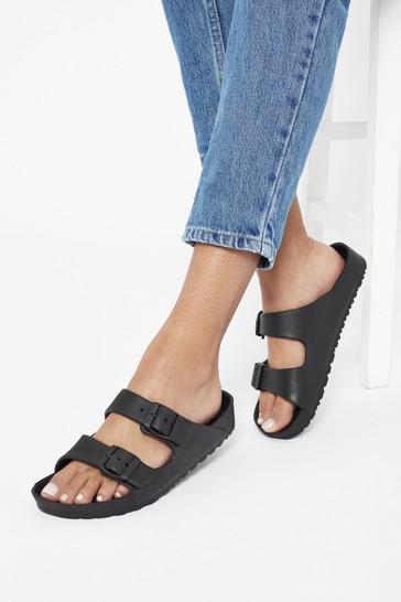 Lipsy Black Double Strap Footbed Sandal